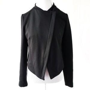 Attention Black Asymmetrical Zip Up Moto Jacket